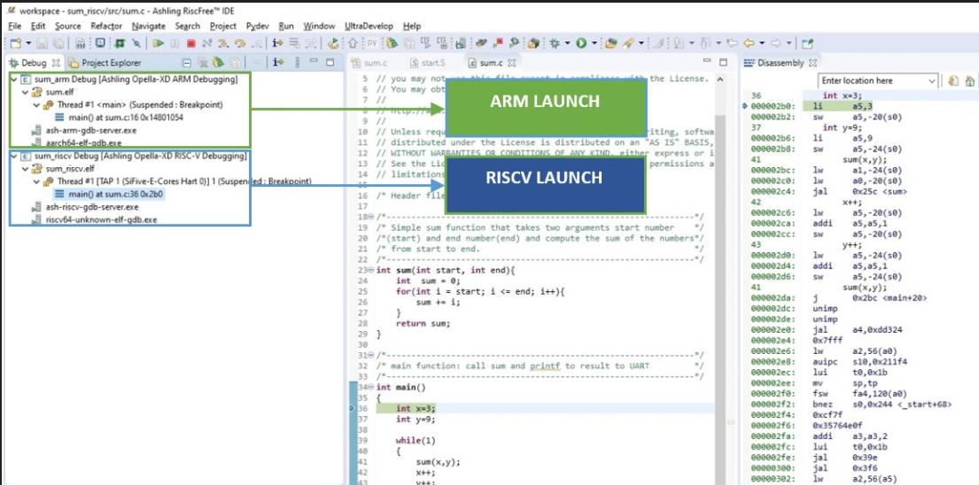 Ashlign debugger Arm adn RISC-V