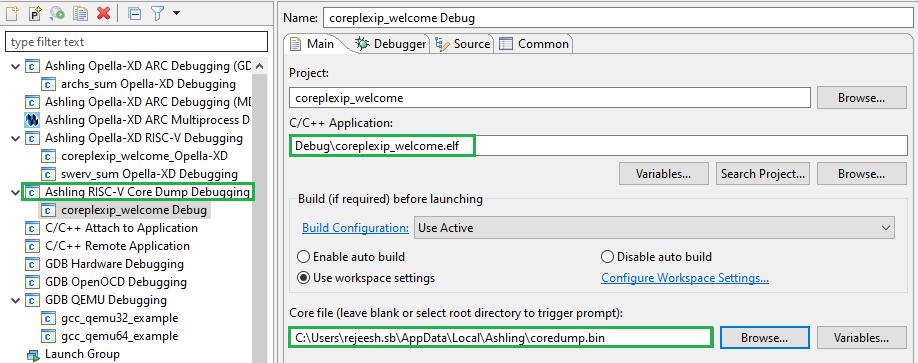 Ashling debugger core dump
