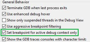 Ashling debugger core-specific breakpoints
